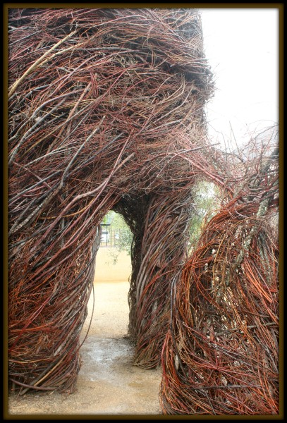 "Patrick Dougherty - ""Deck the Halls"" Stickwork - St. Helena"